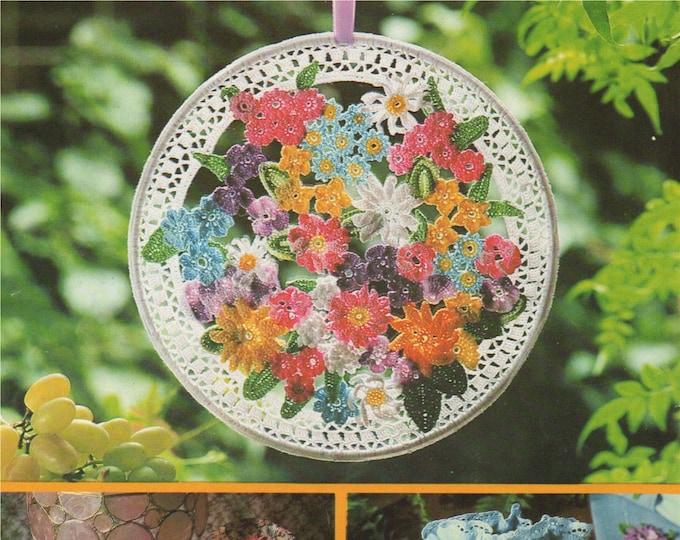 Flowers Suncatcher Crochet Pattern PDF Window Sun Catcher, Crocheted Flower Embellishments, Vintage Crochet Patterns for the Home, Download