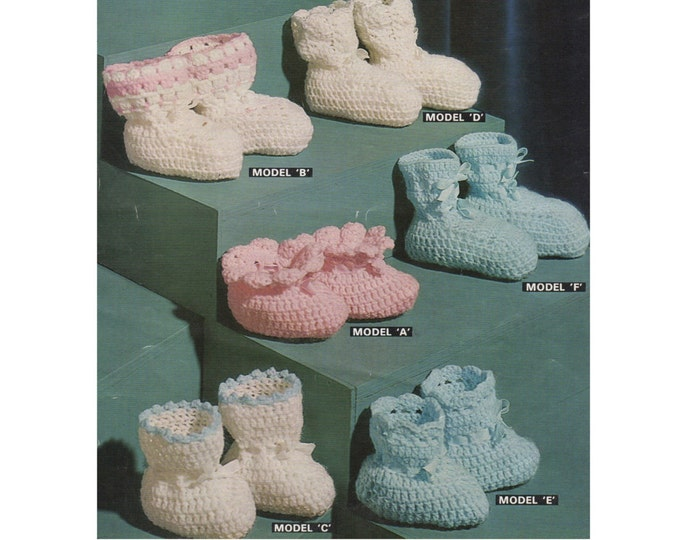Baby Bootees / Booties PDF Crochet Pattern : Birth - 3 months . Baby Boy or Baby Girl . Instant Digital Download