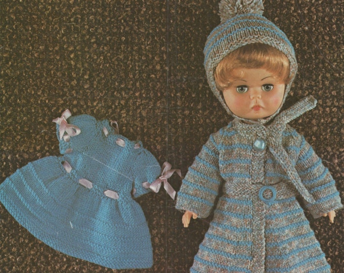 Dolls Clothes Knitting Pattern PDF for 14 inch Doll, Dolls Outfit Pattern, Miss Selfridge, Vintage Knitting Patterns for Dolls, Download
