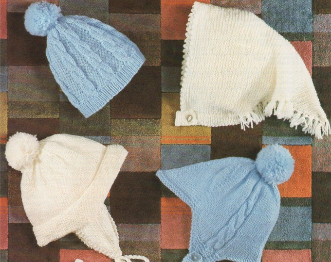 Hats and Mittens Knitting Pattern PDF Babies and Toddlers Boys or Girls 9 - 18 months, Cable Bobble Hat, Headscarf, epattern Download