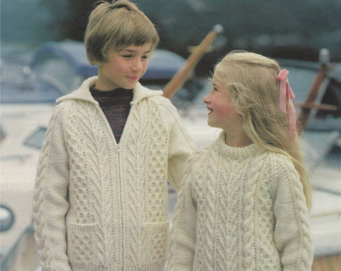 Boys or Girls Aran Sweater and Jacket Knitting Pattern PDF Childrens / Toddlers 22, 24, 26, 28, 30, 32, 34 inch chest, e-patterns Download