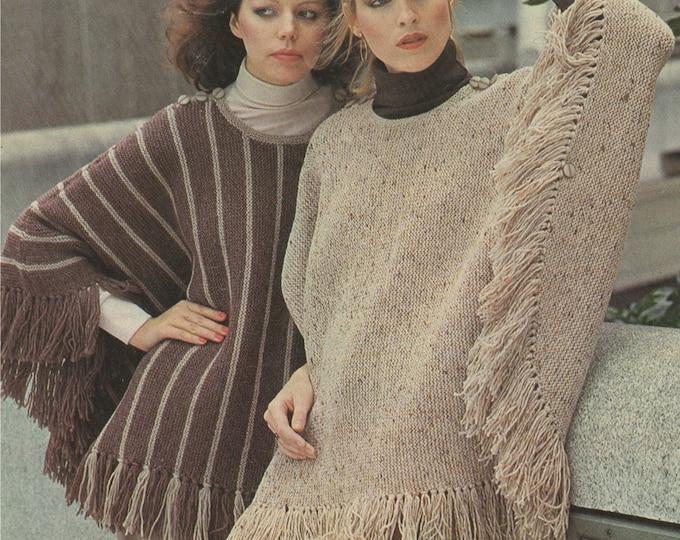 Womens Poncho Knitting Pattern PDF Ladies 32 - 38 inch bust, Fringed Cape Pattern, Vintage Knitting Patterns for Women, epattern Download
