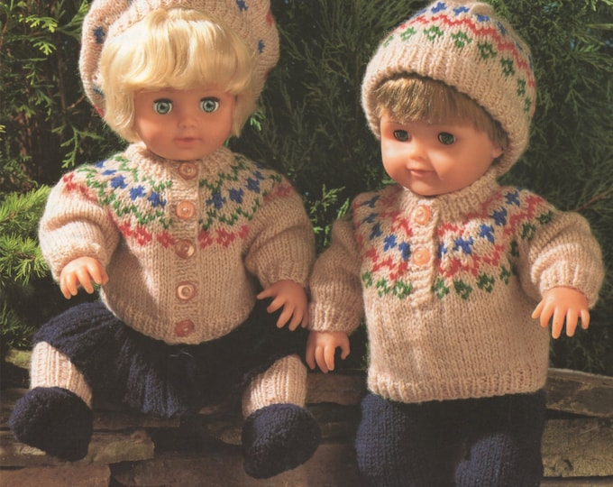 Dolls Clothes Knitting Pattern PDF for 15 inch doll, Fair Isle Doll Outfit, Tiny Tears, Palitoy Dolls, Vintage Knitting Patterns for Dolls