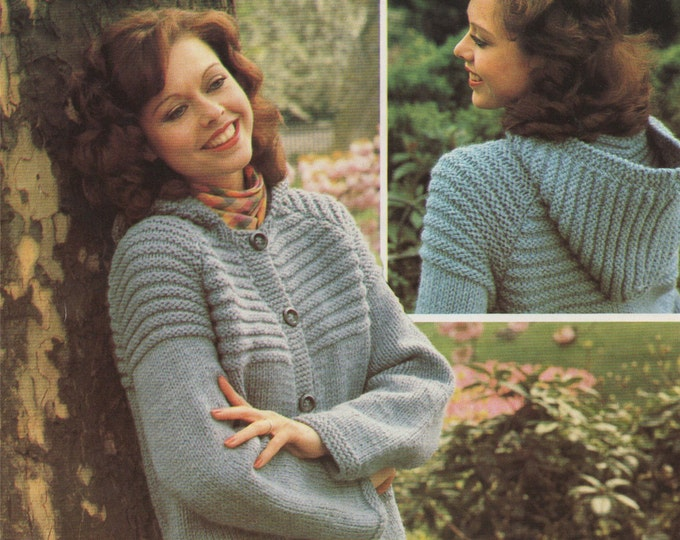 Womens Hooded Jacket Knitting Pattern PDF Ladies 32. 34, 36, 38 and 40 inch chest, Hoodie Cardigan, Vintage Knitting Patterns for Women