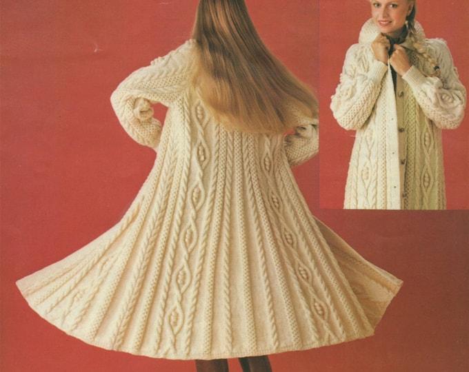 Womens Aran Swing Coat Knitting Pattern PDF Ladies 34, 36 and 38 inch bust, Winter Coat, Vintage Aran Patterns for Women, e-pattern Download