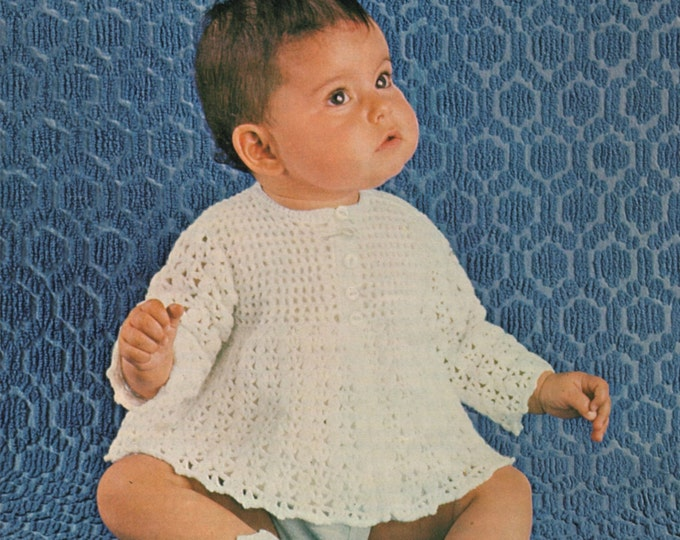 Babys Crochet Pattern PDF Matinee Coat, Bonnet and Bootees : Babies 16, 18 and 20 inch chest . Vintage Baby Crochet Patterns . Download pdf
