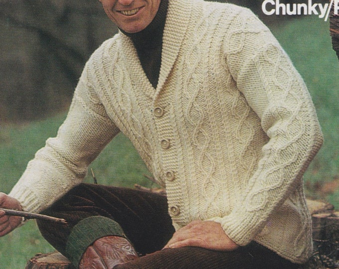 Mens Cardigan Knitting Pattern PDF Mans 36, 38, 40, 42 and 44 inch chest, Chunky Patterned Cardigan, Vintage Knitting Patterns for Men