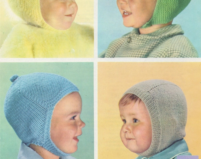 Boys Helmet Hat Knitting Pattern PDF, Baby and Toddlers Up to 18 months . Vintage Baby Knitting Patterns, e-patterns Download