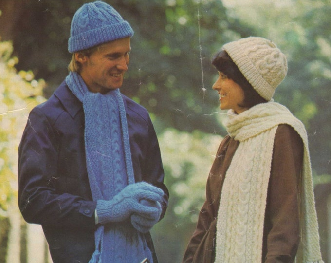 Aran Scarf, Hat and Gloves Knitting Pattern PDF Womens and Mens Patterned Hats and Scarves, Vintage Aran Knitting Patterns, pdf Download