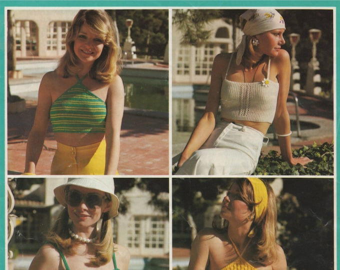 Womens Strappy and Halter Neck Tops Knitting Pattern PDF Ladies 32, 34, 36 & 38 inch bust, Summer Tops, Vintage Knitting Patterns for Women