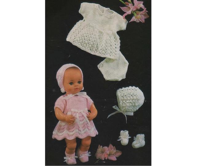 Dolls Clothes Knitting Pattern PDF for 12 inch Baby Doll, Pedigree Dolls, Baby Reborn Dolls, Vintage Knitting Patterns for Dolls, Download