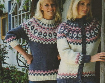 d83d0391e Womens Fair Isle Sweater and Cardigan Knitting Pattern PDF Ladies 32