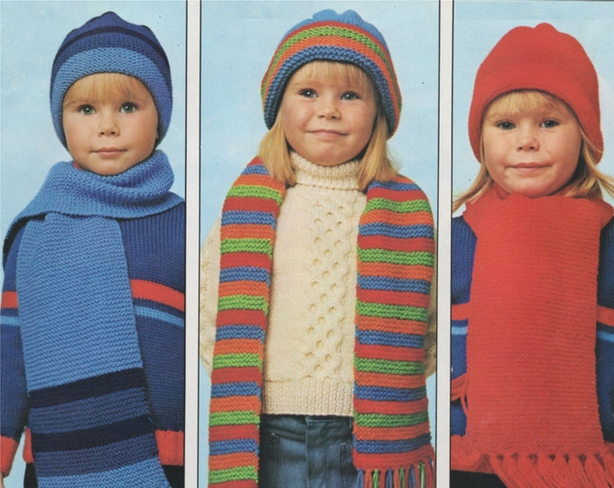 Childrens Hat and Scarf Knitting Pattern PDF Boys or Girls, Winter Accessories Hats and Scarves, Vintage Knitting Patterns for Children, pdf