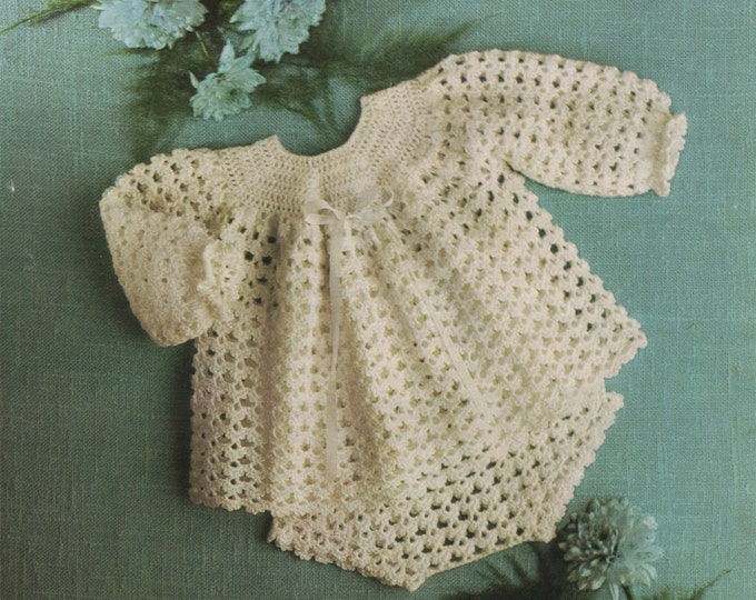 Baby Girls Angel Top and Pants PDF Crochet Pattern Babies 18 - 20 and 22 - 24 inch chest Short Dress 4 Ply Instant Download under 99p