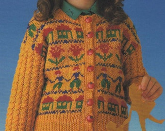 d5f596b07d Girls Fair Isle Cardigan Knitting Pattern