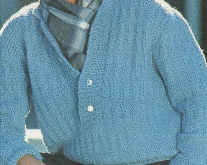 Mens Sweater Knitting Pattern PDF Mans 34 - 36, 40 - 42 and 42 - 44 inch chest, Mens Jumper, DK yarn, Vintage Knitting Patterns for Men