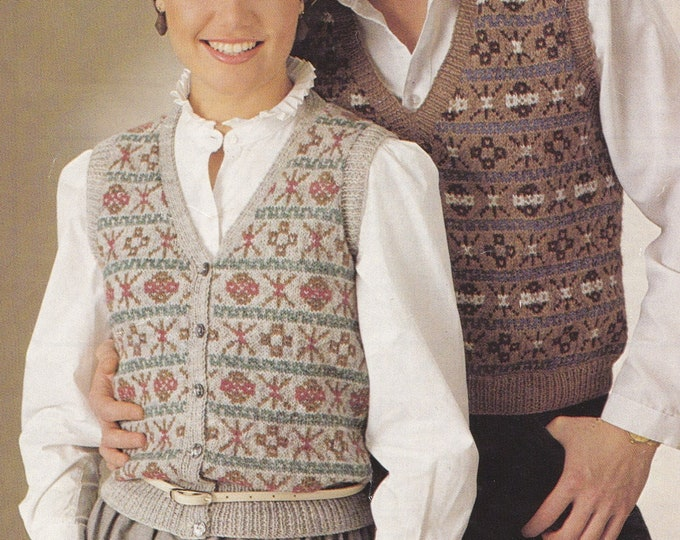 Fair Isle Waistcoat and Slipover Knitting Pattern PDF Ladies or Mens 32 - 33, 35 - 36, 39 - 40 and 43 - 44 inch chest, Gilet and Pullover