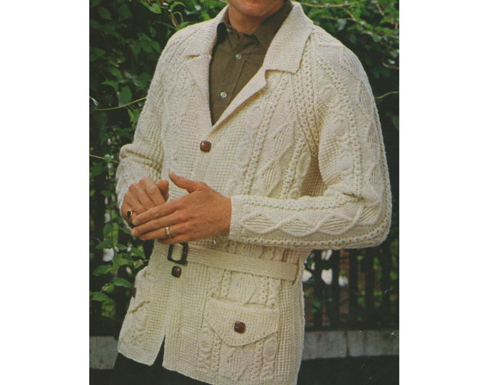 Mens Jacket with Pockets Knitting Pattern PDF Mens 36, 38, 40, 42, 44, 46 and 48 inch chest, Patterned Jacket with Belt, V Neck, Download