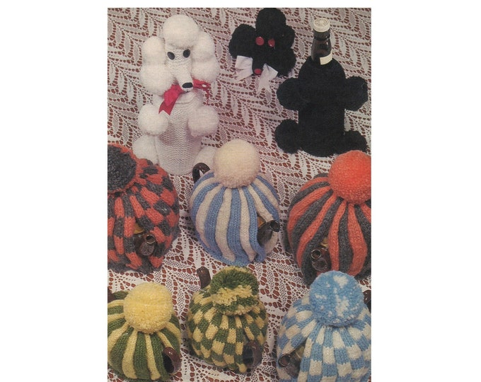 Tea Cosies and Poodle Dog Bottle Cover Knitting Pattern PDF Tea Cosy in 2 designs, Vintage Knitting Patterns for the Home, pdf Download