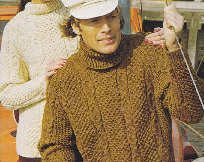 Aran Sweater Knitting Pattern PDF Mens or Womens 32, 34, 35, 36, 38, 40 and 44 inch chest, Cable and Patterned, Vintage Aran Knit Patterns