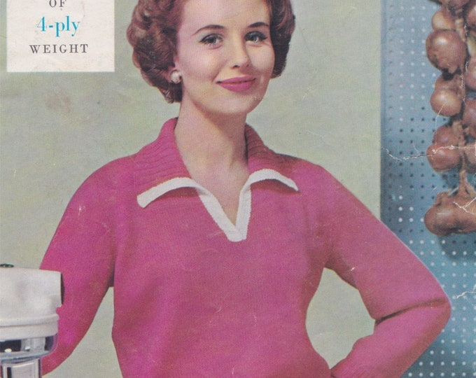 Womens V neck Sweater with Collar Knitting Pattern PDF Ladies 34, 36 & 38 inch bust, 4 ply Yarn, Long Sleeved Jumper, Vintage Knit Patterns
