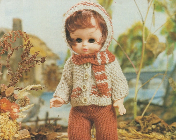 Dolls Clothes Knitting Pattern PDF for 9 - 10, 11 - 13 and 14 - 16 inch Doll, Dolls Outfit Pattern, Vintage Knitting Patterns for Dolls