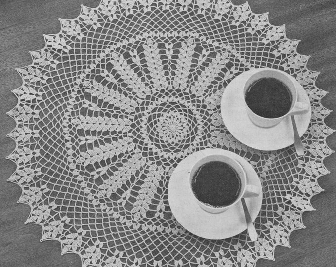 Circular Table Mat and Doily Crochet Pattern PDF - Wheat Ear Design, Decorative Table Linen Pattern, Vintage Crochet Patterns for the Home