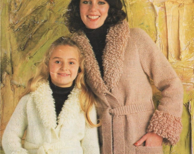Belted Aran Jacket with Loop Stitch Collar & Cuffs Knitting Pattern PDF Womens or Girls 24, 26, 28, 30, 32, 34, 36, 38, 40, 42, 44 inch bust
