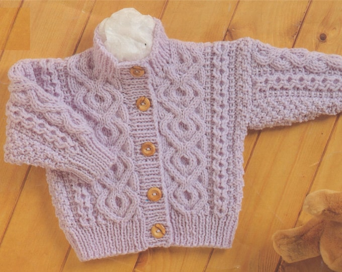 Baby Aran Cardigan and Sweater Knitting Pattern PDF Toddlers Boys or Girls 16, 18, 20, 22 and 24 inch chest, Knitting Patterns for Babies