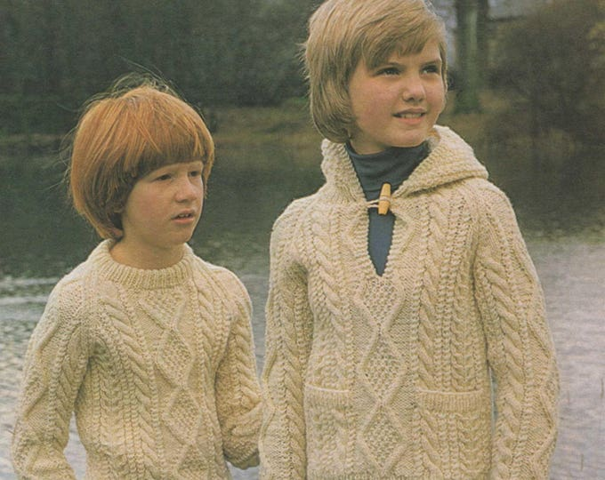 97a897d7cc5e Childrens Aran Sweater and Hoodie Knitting Pattern PDF Boys or Girls 24