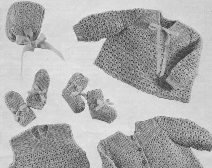 Baby Girls Dress, Angel Top, Matinee Coat, Bonnet, Bootees and Mitts Crochet Pattern PDF Babies 18, 20, 22 inch chest . Instant Download