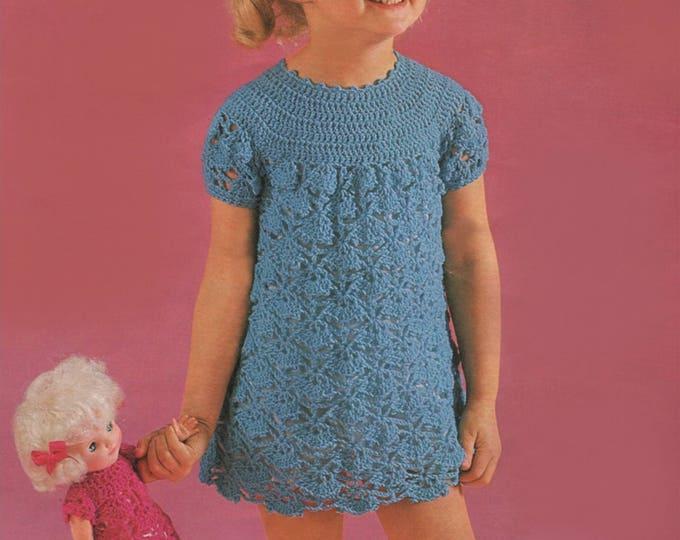 Girls and Dolls Dress Crochet Pattern PDF Girl's 22, 24, 26 and 28 inch chest, 12 inch Doll, Vintage Crochet Patterns for Children, Download