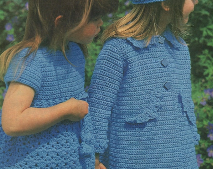Girls Dress, Coat and Hat Crochet Pattern PDF Childrens 22, 24, 26 and 28 inch chest, Vintage Crochet Patterns for Children, Download