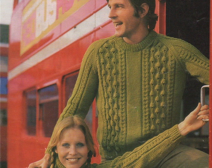 Sweater Knitting Pattern PDF Womens and Mens 32, 34, 36, 38, 40, 42, 44 and 46 inch chest, Polo or Round Neck, Vintage Knitting Patterns