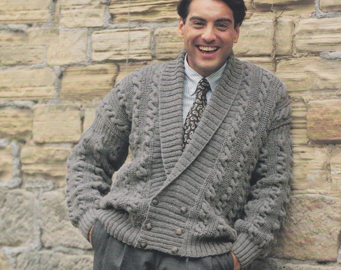 Patterned Cable Jacket Knitting Pattern PDF Mens 36 - 38, 40 - 42 and 44 - 46 inch chest, Double Breasted, Vintage Knit Patterns for Men