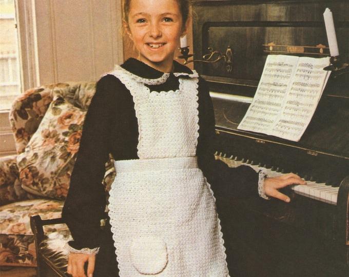 Apron Crochet Pattern PDF Girls 22, 24 and 26 inch chest, Vintage Crochet Patterns for Children, epattern Download