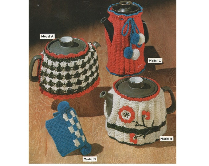 Tea Cosies and Coffee Pot Cosy Knitting Pattern PDF, Tea Cosy in 2 designs plus Tea Pot Holder, Vintage Knitting Patterns for the Home, pdf