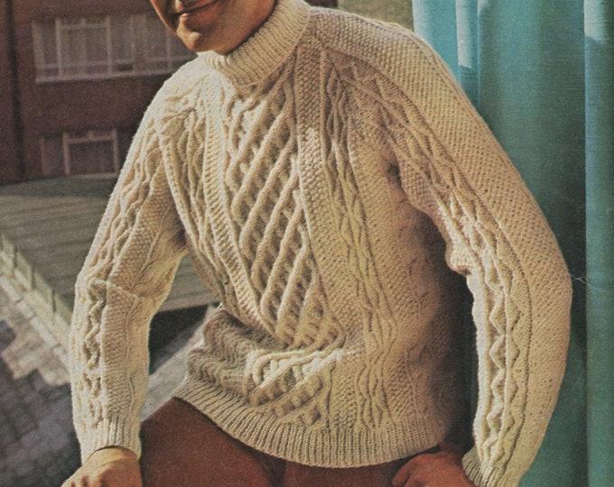 Mens Aran Sweater Knitting Pattern PDF Mans 36, 38, 40, 42, 44 and 46 inch chest, Aran Jumper, Vintage Knitting Patterns for Men, Download