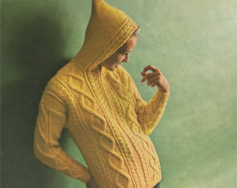 Womens Aran Hoodie Jacket PDF Knitting Pattern : Ladies 34, 36, 38 and 40 inch chest . Hooded Cardigan . Instant Digital Download
