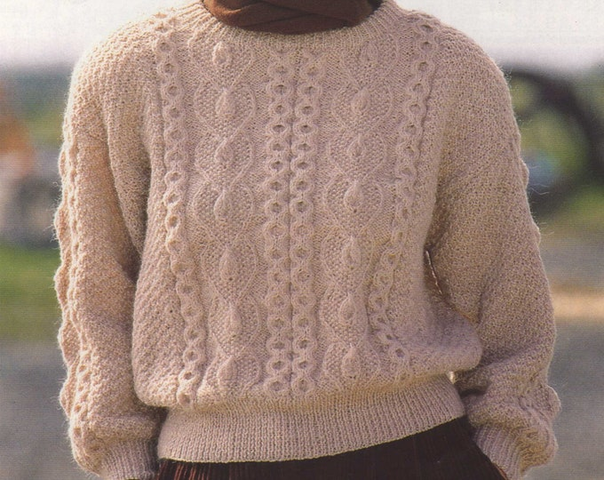 Womens Sweater Knitting Pattern PDF for Ladies 30, 32, 34, 36, 38 and 40 inch chest, Patterned Jumper, Vintage Knitting Patterns for Women