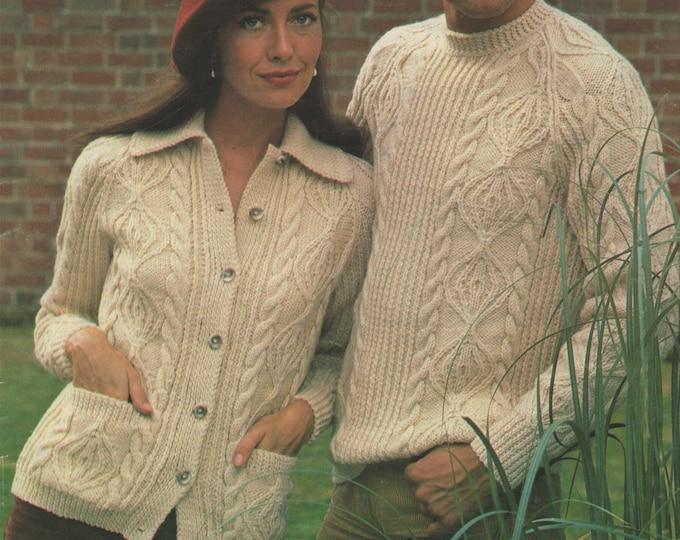 Aran Sweater and Jacket Knitting Pattern PDF Mens and Ladies 32, 34, 36, 38, 40, 42, 44, 46 & 48 inch chest, Vintage Aran Knitting Patterns