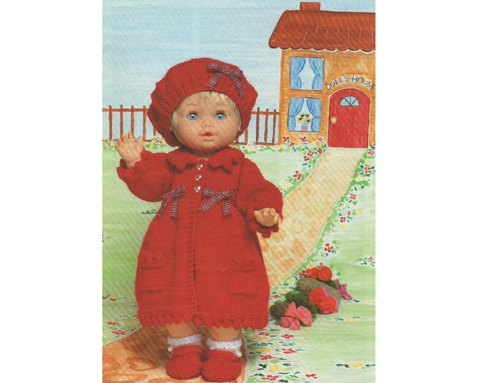 Dolls Clothes Knitting Pattern PDF for 12 - 14, 15 - 18 and 19 - 22 inch Doll, Coat, Beret, Shoes Dolls Outfit Pattern, DK Yarn, Download