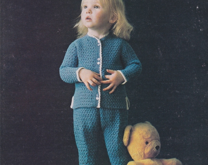 Trousers & Jacket Crochet Pattern PDF Toddlers Boys or Girls 22, 24, 26 inch chest, 4 ply yarn, Vintage Childrens Crochet Patterns, Download