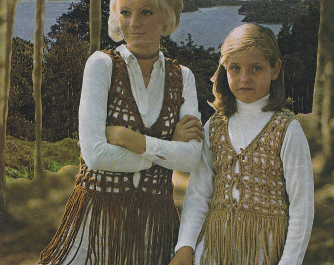 Waistcoat with Long Fringe Crochet Pattern PDF Womens or Girls 30, 32, 34 and 36 inch bust, Gilet, Chunky Yarn, Vintage Crochet Patterns