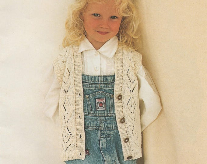 Childrens Waistcoat Knitting Pattern PDF Girls 22, 24, 26, 28 and 30 inch chest, Gilet, Vintage Knitting Patterns for Children, Download
