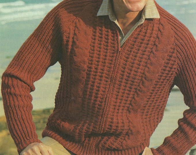 Mens Zip Cardigan Knitting Pattern PDF Mans 34, 36, 38, 40, 42 and 44 inch chest, Patterned Zipped Jacket, Vintage Knitting Patterns for Men