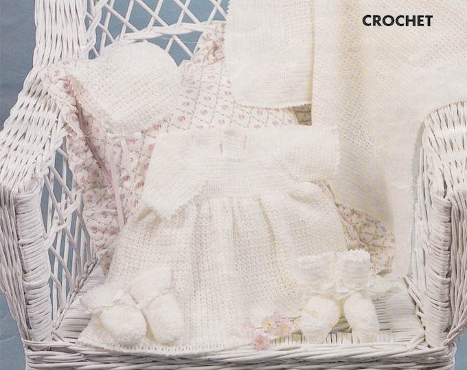 Babies Dress, Bonnet, Bootees, Mitts and Shawl Crochet Pattern PDF Baby Girls 18 inch chest, Baby Blanket, Vintage Crochet Patterns for Baby