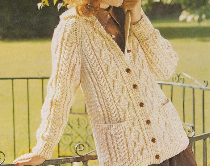 Womens Aran Cardigan Knitting Pattern PDF Ladies 34, 36, 38 and 40 inch bust, Longline Jacket, Vintage Aran Knitting Patterns for Women
