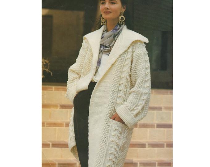 Womens Aran Coat Knitting Pattern PDF Ladies 30 - 32, 34 - 36 & 38 - 40 inch bust, Edge to Edge Design, Vintage Knitting Patterns for Women