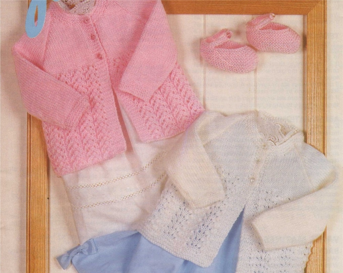 Babies Matinee Coat and Shoes Knitting Pattern PDF Baby Girls 14, 16 and 18 inch chest, Slippers, Vintage Knitting Patterns for Babies, pdf